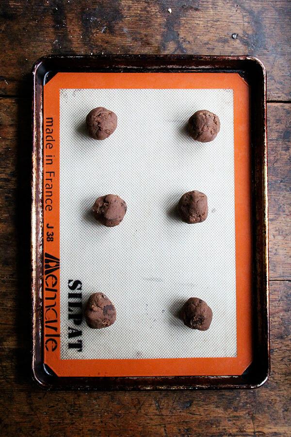 balled cookies on sheetpan
