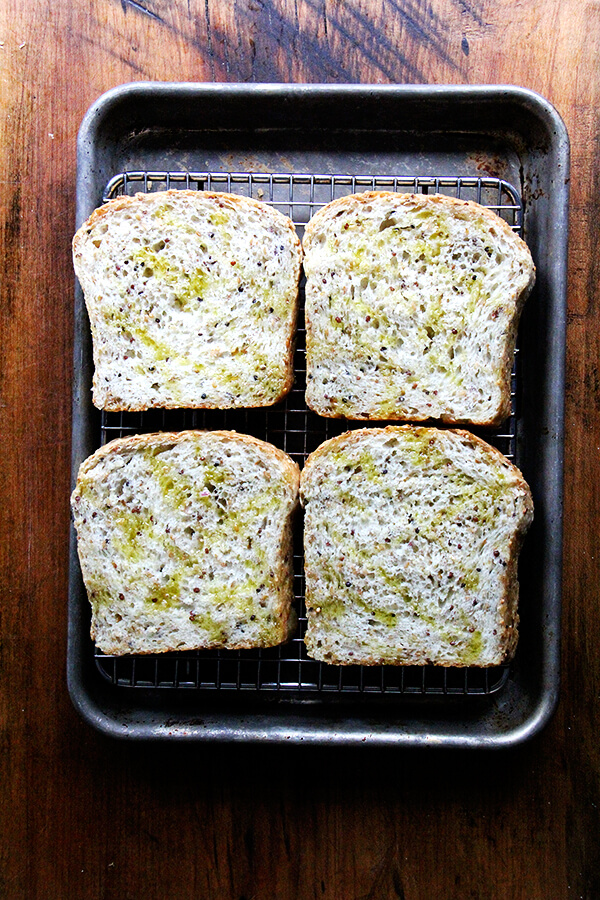 quinoa and flax bread, ready for broiler