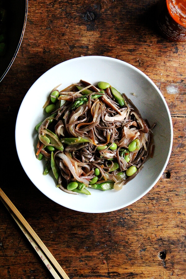 This vegetable chow mein is much more than a tasty-enough weeknight meal—it is a tangle of saucy noodles and vegetables, and it's fast becoming a family favorite. It works as well with spaghetti as with soba noodles, with asparagus as with broccoli, with or without protein. Moreover, the adaptations are endless // alexandracooks.com