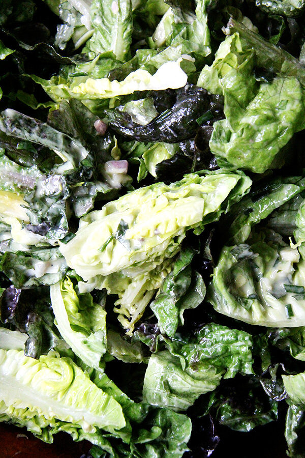 This green goddess dressing defies convention, omitting mayonnaise and sour cream in favor of olive oil and heavy cream (just a little). Many herbs can be used, but I love it when the predominant flavor is tarragon. // alexandracooks.com