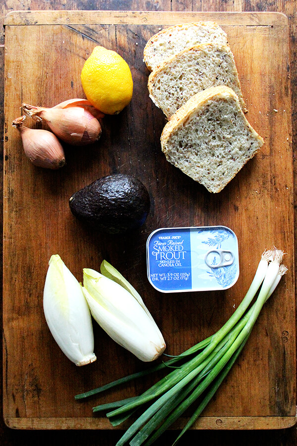 ingredients for smoked trout salad
