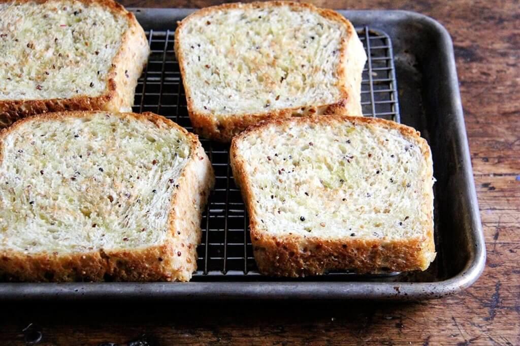 toasted quinoa-flax bread.