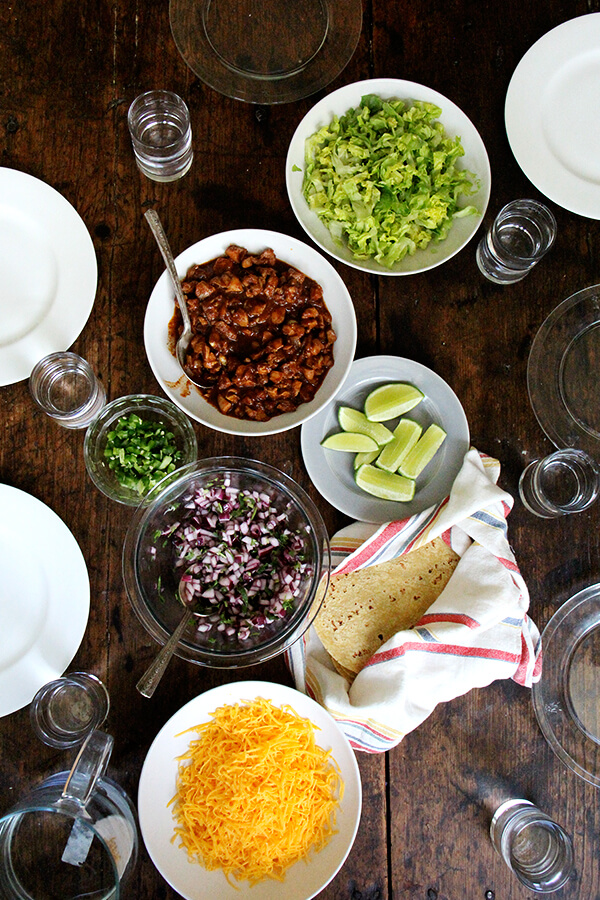 An overhead shot of the dinner table set for taco night.