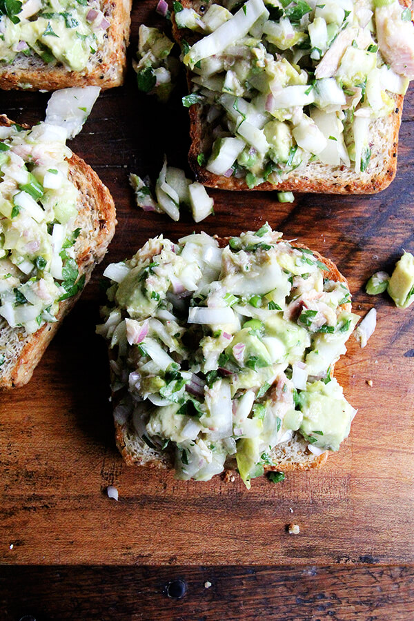 avocado and smoked trout toasts, up close