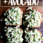 Smoked trout and avocado salad toasts.