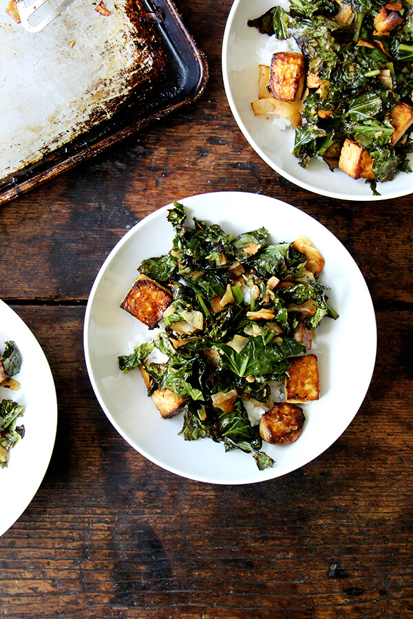 roasted kale with coconut and tofu
