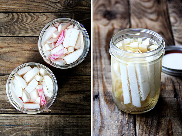pickled turnips and beets (left); pickled kohlrabi (right)