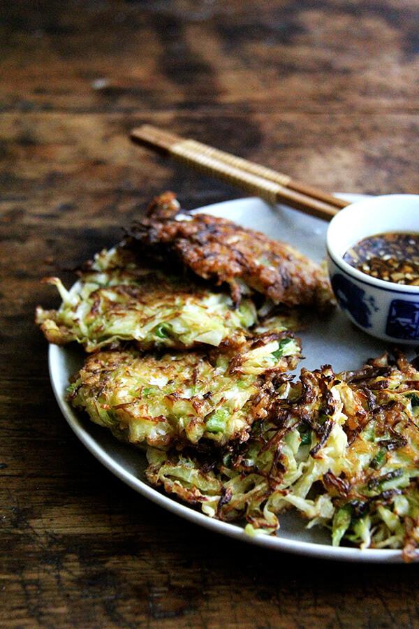 A platter of okonomiyaki.