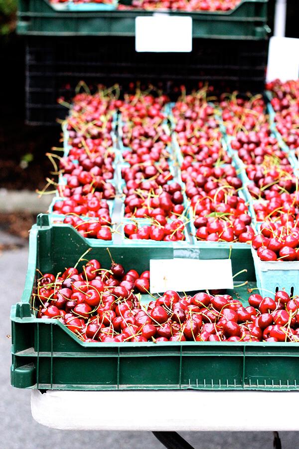 cherries at the bolton landing farmer's market