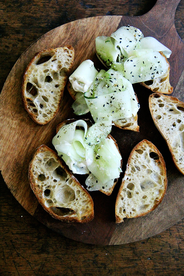Berkshire Mountain Bakery ciabatta with cucumber and yogurt-tahini sauce