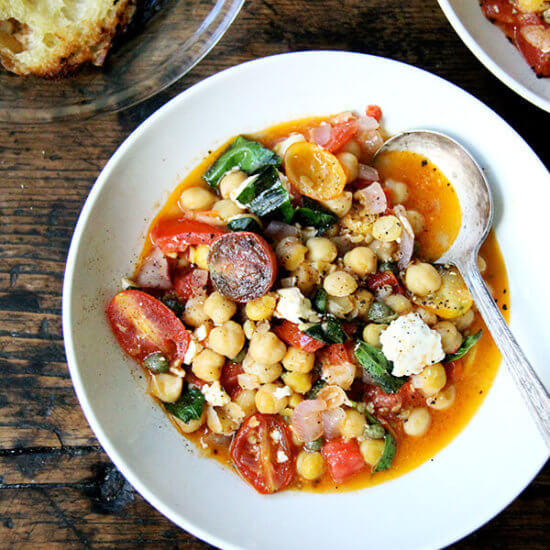 Stewy Chickpeas with Tomatoes and Feta
