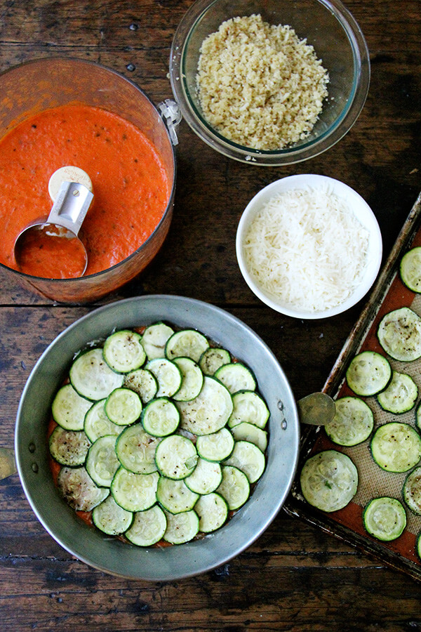 assembling the zucchini parm