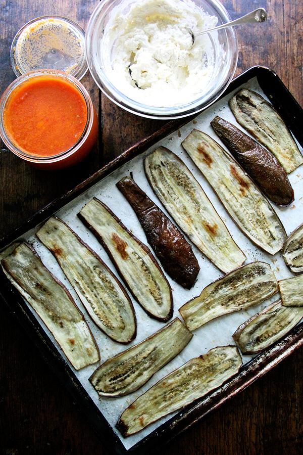 eggplant involtini components: roasted eggplant, tomato sauce, homemade ricotta