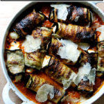 A baking dish filled with eggplant involtini.