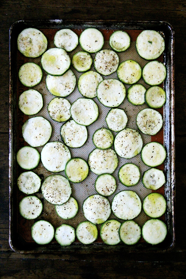 sliced and seasoned zucchini
