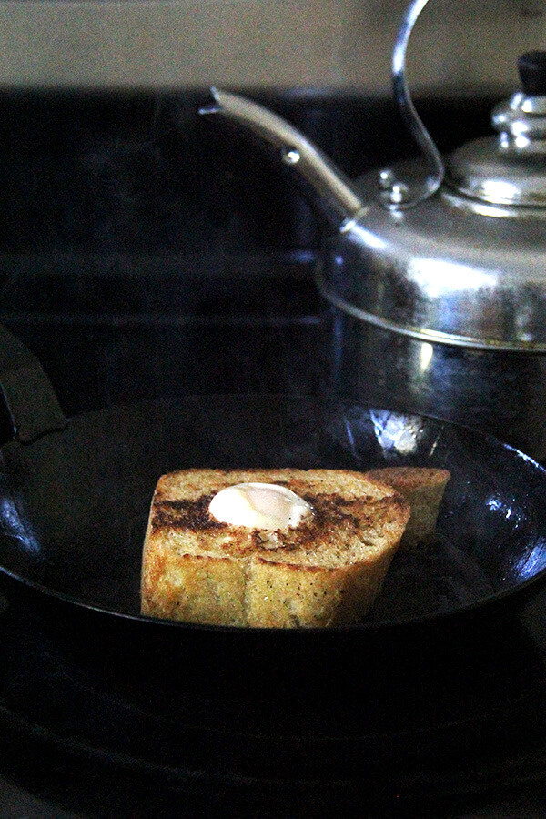 egg in a hole in the pan