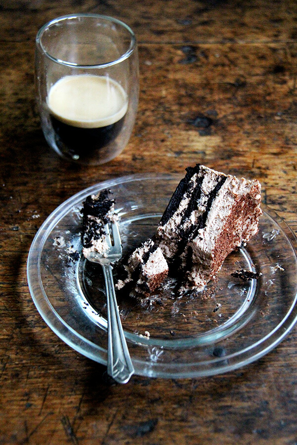 This chocolate-espresso icebox cake takes all of 20 minutes to throw together, will receive rave reviews from your guests, and you will find too irresistible, impossible, in fact, not to sneak a little spoonful of every time you open the fridge. // alexandracooks.com