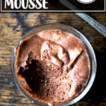 A cup of vegan chocolate mousse made with aquafaba.