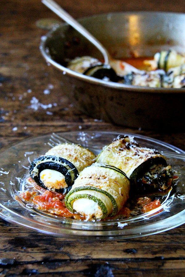 In this zucchini involtini, the ricotta filling is mixed with sautéed chard and lemon zest, but I've had success using leftover fresh corn polenta, chopped up roasted red peppers, and cubes of mozzarella, which makes me think the possibilities for involtini are endless. // alexandracooks.com