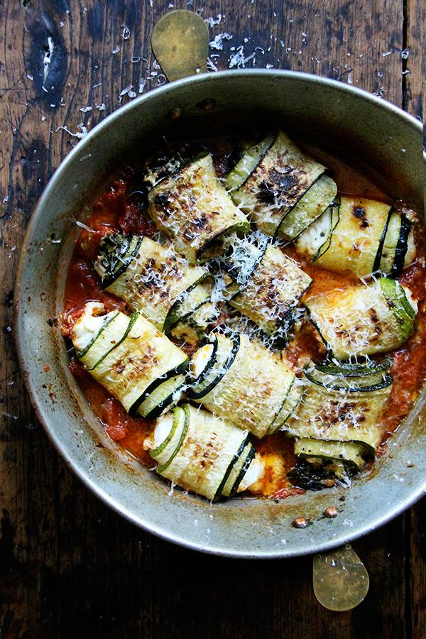A pan of zucchini involtini.