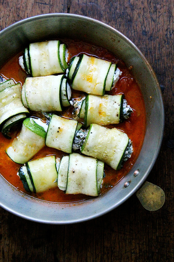 zucchini involtini, ready for the oven