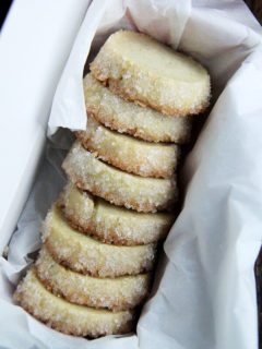 A box of sugar-crusted vanilla bean sables.