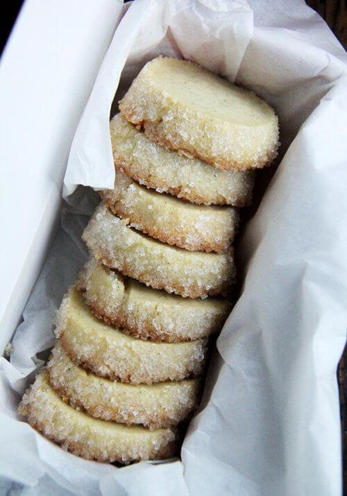A box of sugar-crusted vanilla bean sables.