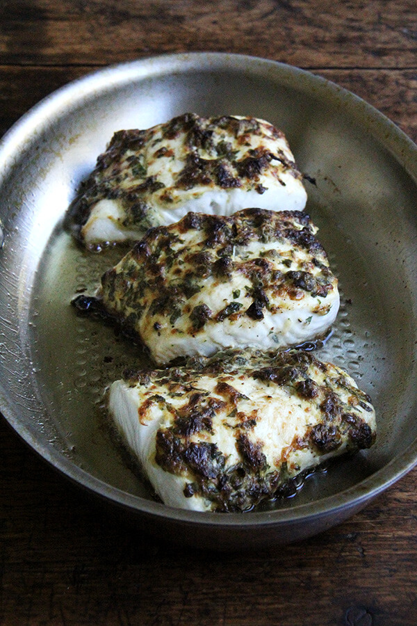 pan-broiled halibut