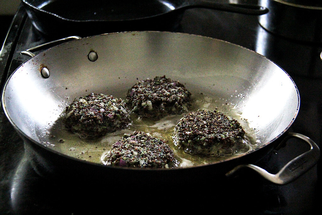frying the patties