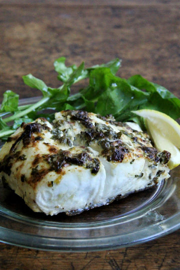 Pan-Broiled Halibut with Lemon, Capers, & Parsley