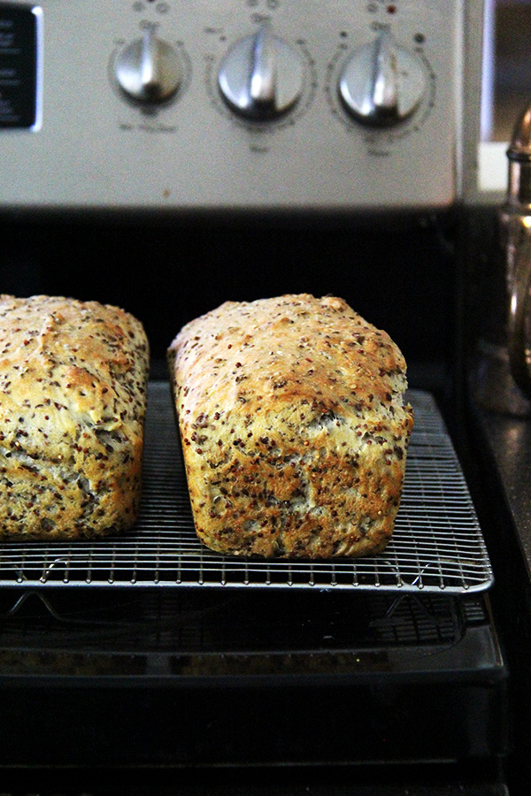quinoa and flax bread, baked