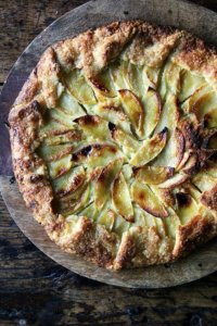The pastry of this apple galette, which is impossibly flaky, slightly sweet, and completely delicious, can be made entirely in the food processor as can the frangipane — no need to clean the bowl in between activities. What's more, the whole galette can be assembled and in your oven in about 15 minutes. // alexandracooks.com
