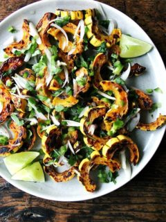 Roasted delicata squash with chilies, lime, and cilantro.