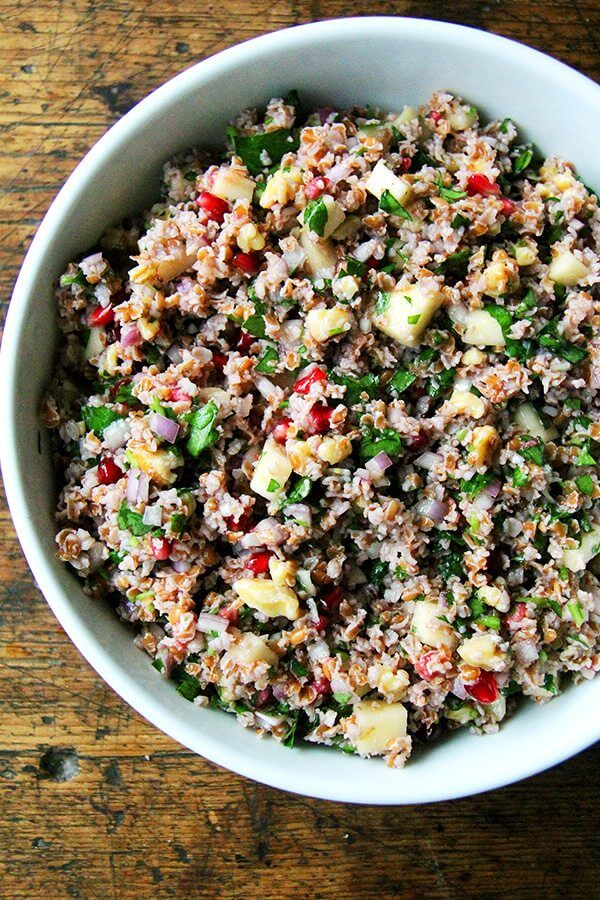This fall tabbouleh is so refreshing and includes pomegranates, apple, and walnuts. What's more, no cooking is required — bulgur simply needs to be soaked in cold water for about an hour. // alexandracooks.com