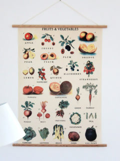 These art framing kits come in two formats, horizontal and vertical, and each set comes with a nail (so handy!) and wooden dowels (halved to allow them to rest flush against the wall) with peel-off adhesive tape, which you stick directly to your poster. I love the simple design. // alexandracooks.com