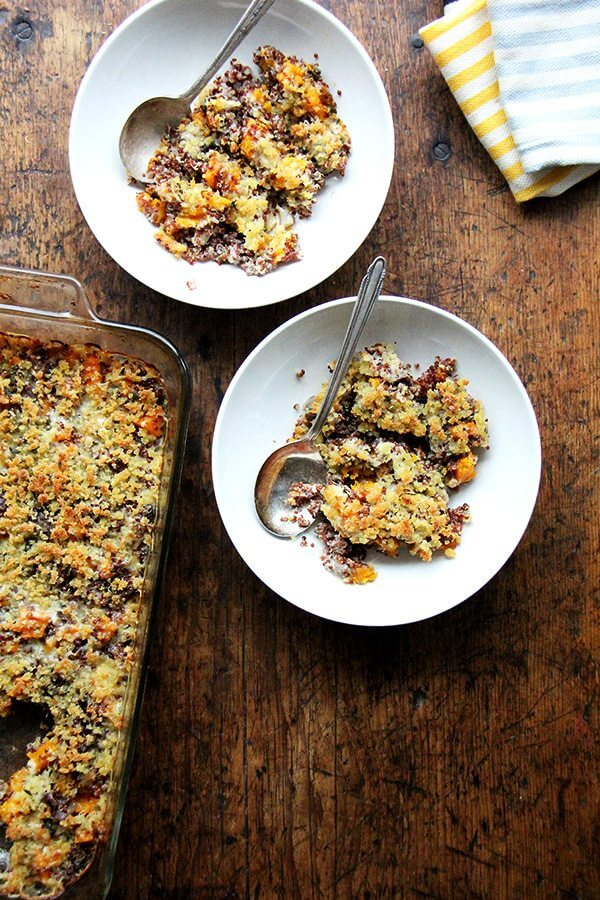 Quinoa bakes are new in my world, but this one surprised me with its familiarity and comfort. Simple, delicious, crowd-worthy. I like this combination: roasted onions and butternut squash, a mix of Gruyère and parmesan, and ALL the Thanksgiving herbs: sage, rosemary, and thyme. // alexandracooks.com