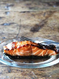 A plate of ginger-soy broiled salmon.