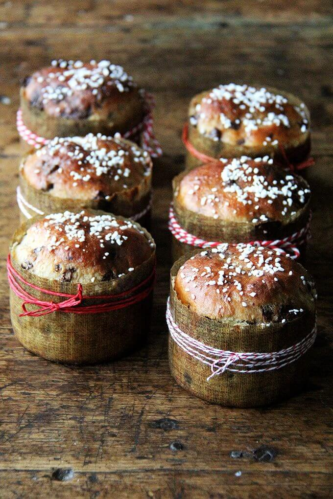 6 mini chocolate studded panettone breads in their paper moulds wrapped with baker's twine.