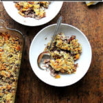 Roasted butternut squash and onion quinoa bake.