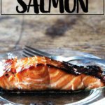 A plate of broiled ginger-soy salmon.