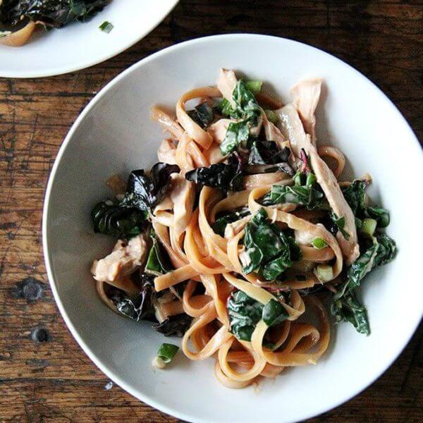 Sesame Noodles with Swiss Chard and Chicken