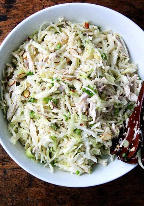 This chicken and cabbage salad with sesame seeds, scallions, and almonds is truly delicious without the chicken, but I find the chicken turns it into more of a meal and makes it last longer. // alexandracooks.com