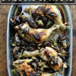 Sheet pan roast chicken and Brussels sprouts.