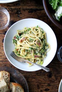 Valentine's Day Menu: Bucatini Carbonara with Leeks & Lemon | Arugula & Endive Salad | Double Chocolate Cake