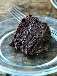 This double chocolate cake is made with buttermilk (magic!), oil (as opposed to butter), lots of cocoa powder, and coffee, if you wish, which intensifies the chocolate flavor. Yum. // alexandracooks.com