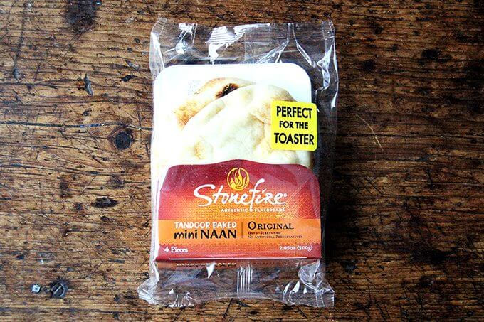 A bag of mini Stonefire naan.