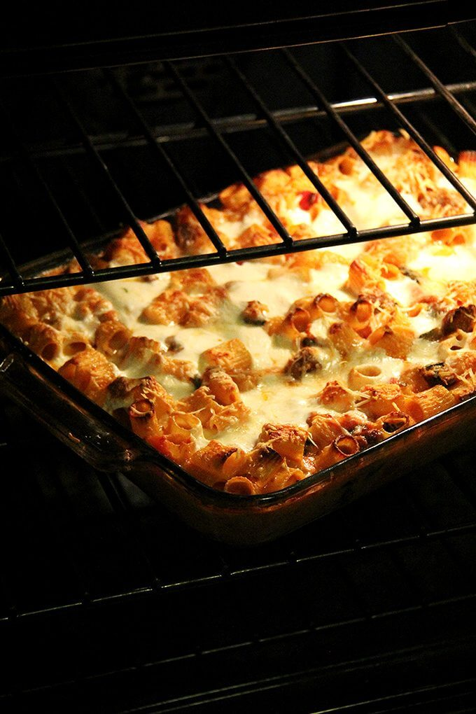 Just-baked baked ziti in the oven.