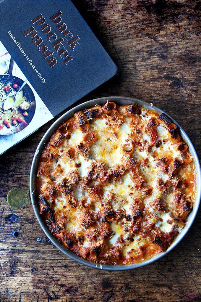 Just-baked baked ziti aside a cookbook: Back Pocket Pasta