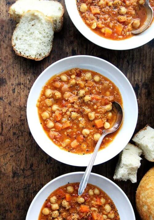 This curried chickpea and lentil soup is a recipe that can be adapted to taste and to what you have in your pantry. I've added chickpeas, omitted the greens, used vinegar in place of the lemon juice, and it always turns out well. Most important, it comes together alarmingly quickly but has a simmered-all-day-kind-of taste. // alexandracooks.com
