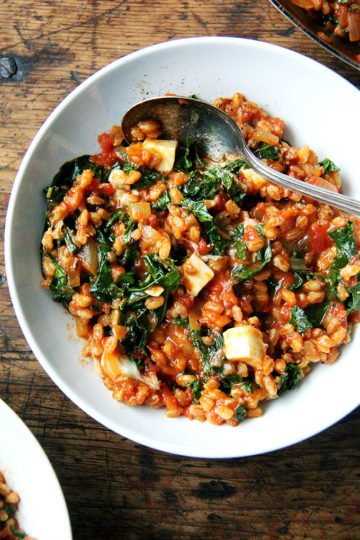 Farro Risotto with Kale and Feta
